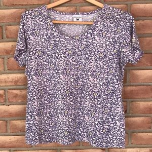 Columbia size L purple print, short sleeved tee